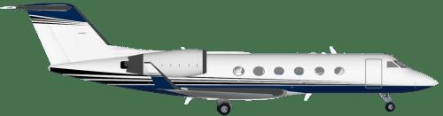 Side profile of Gulfstream 400 G-IV aircraft