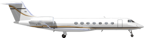 Side profile of Gulfstream 550 G550 aircraft