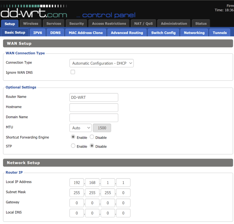 DD-WRT Screen