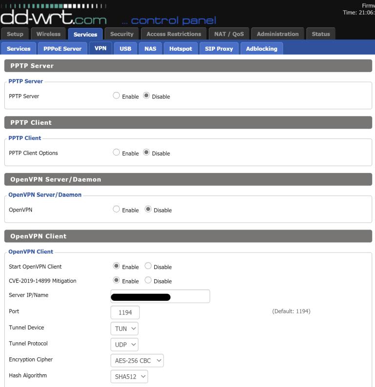 DD-WRT OpenVPN Client Configuration