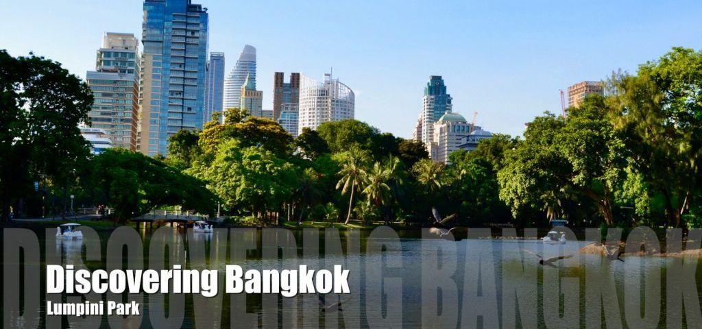 View across the lake in Lumpini Park in Bangkok