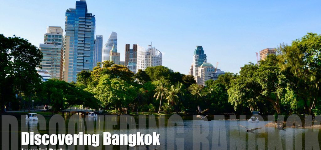 View across the lake in Lumpini Park in Bangkok