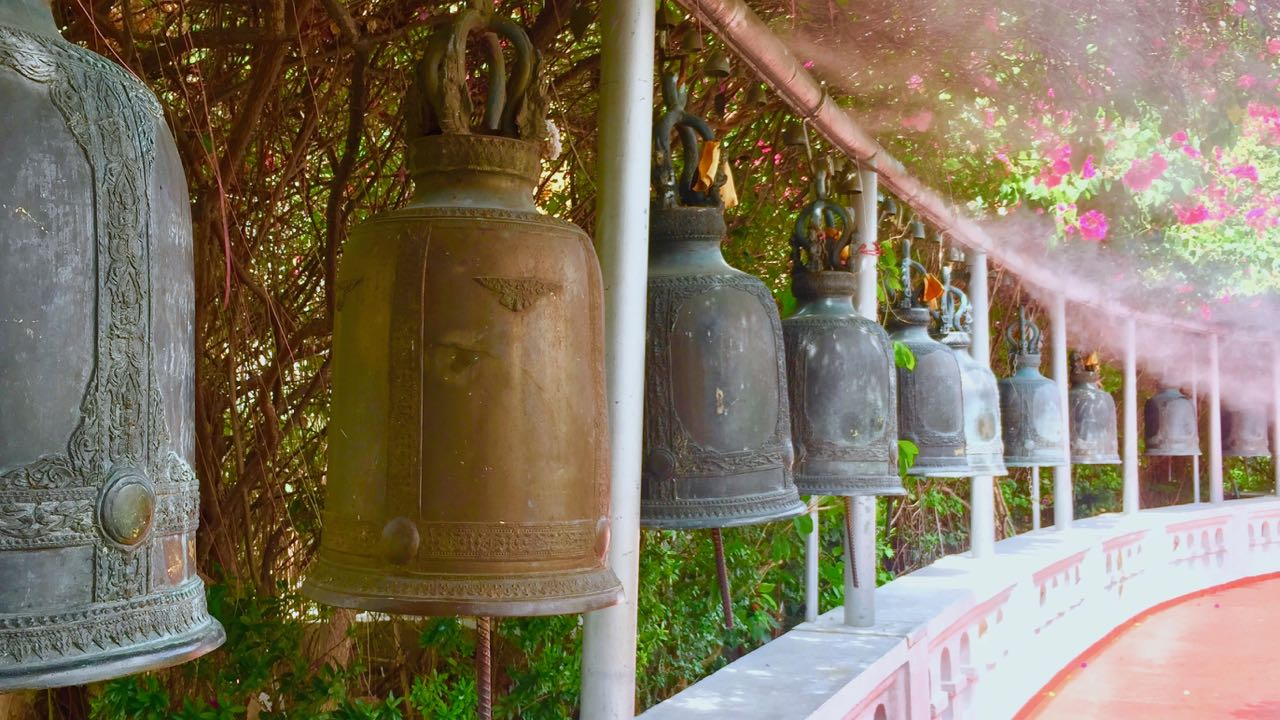 View of the prayer bells in the Golden Mount in Bangkok