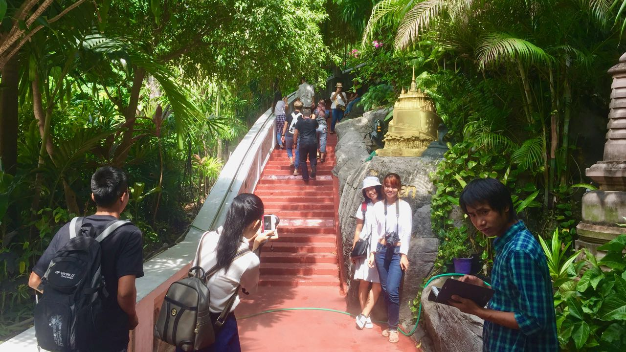 View of the shallow steps up the Golden Mount in Bangkok