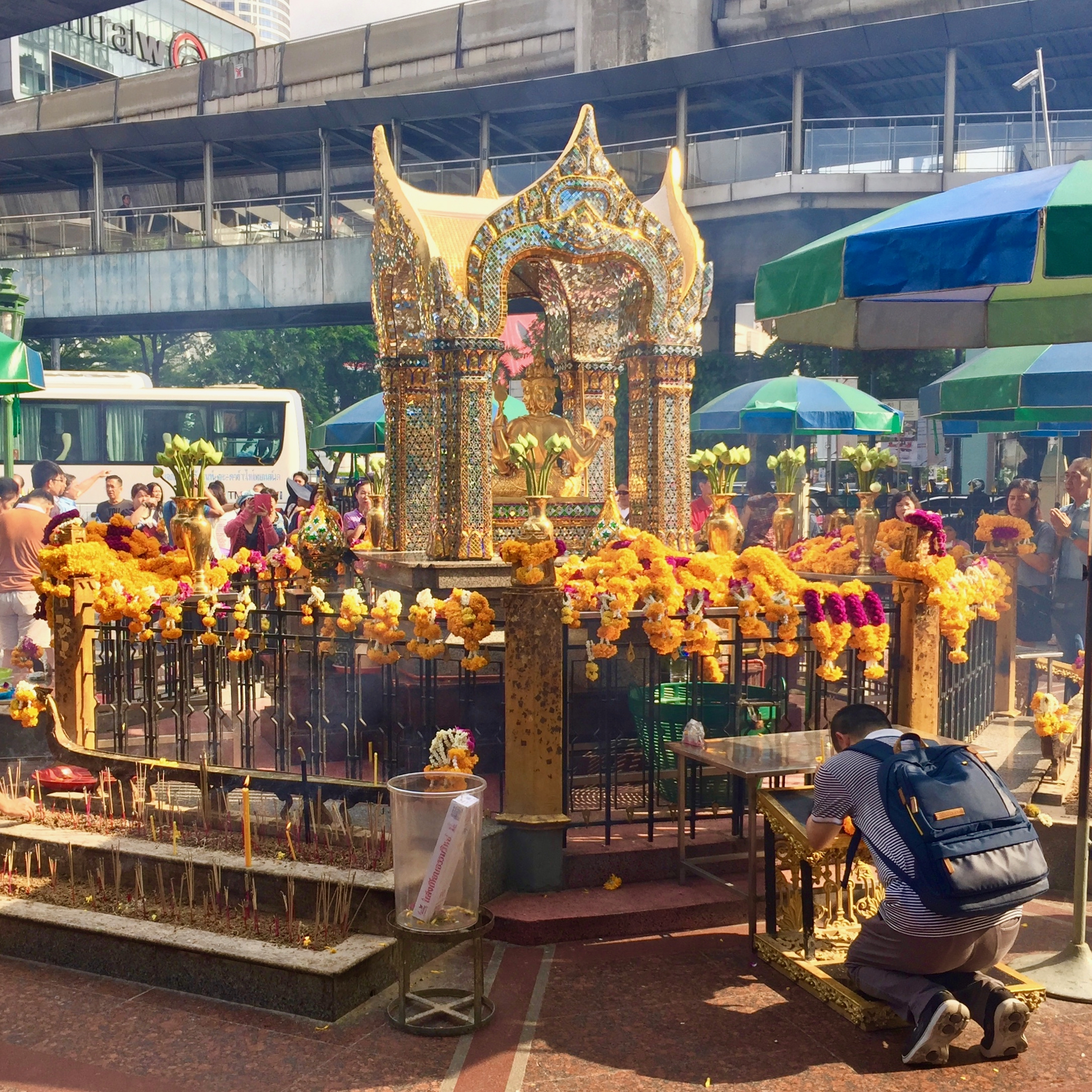 View of the shrine and Than Tao Mahaprom the four-faced Brahma God