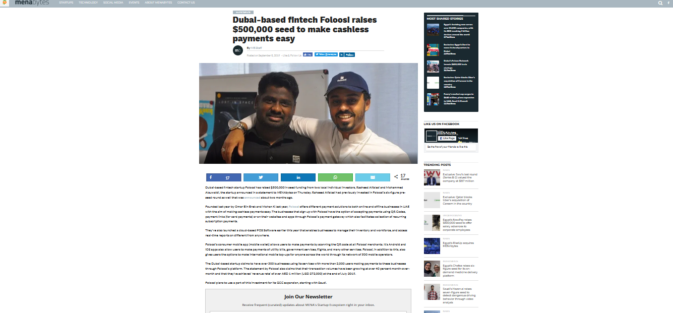 Dubai-based fintech Foloosi raises $500,000 seed to make cashless payments easy