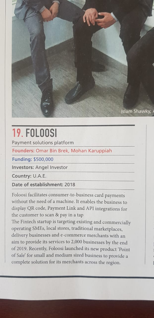 Foloosi is Top 20 Startups in the Middle East