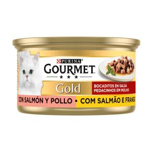 Comida Húmida Gato em Molho com Salmão e Frango Purina Gourmet Gold