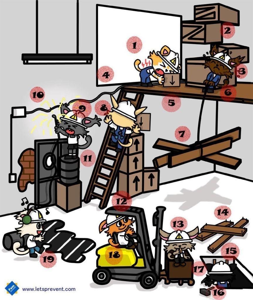 juego diferencias riesgos Let's Prevent! - Encuentra los 19 Riesgos en el almacén