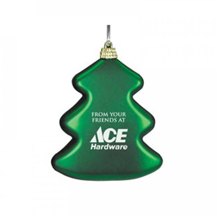 shatterproof personalized tree shaped ornament with your business logo