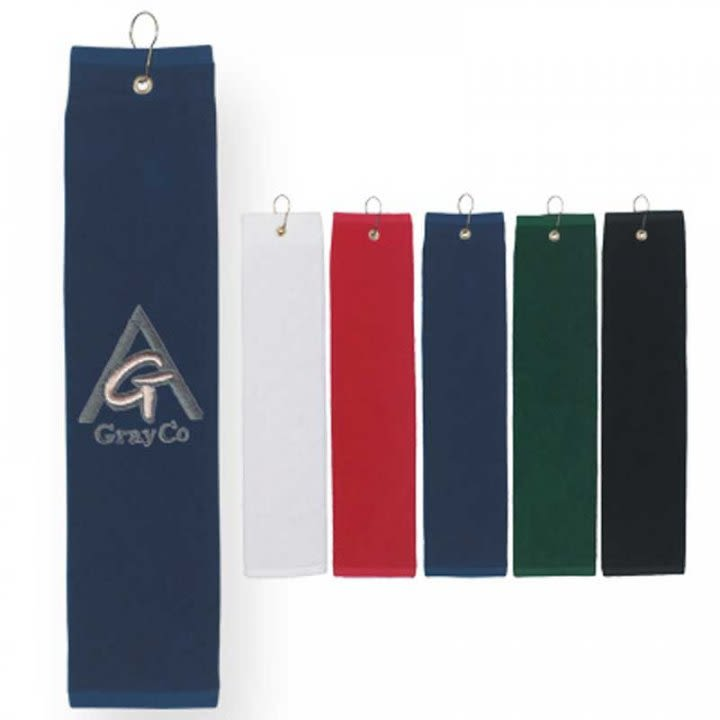 Cotton Folded Golf Towel With Custom Embroidery