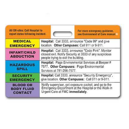 Hospital Emergency Badge with Slot