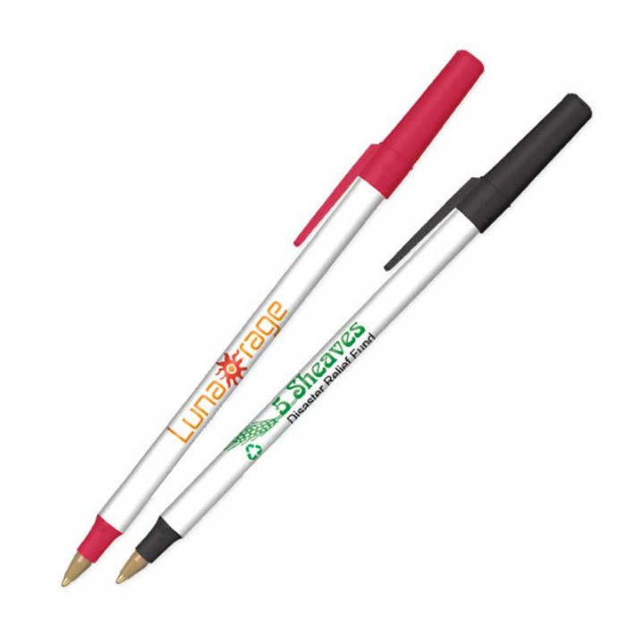 BIC Round Stic Ecolutions Logo Pen-Recycled Plastic | Custom