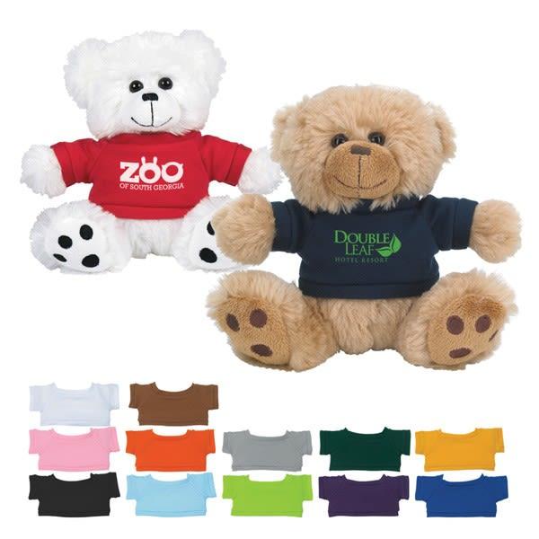 605ab7c2ed2 Plush custom teddy bear with logo shirt - Promotional products for kids