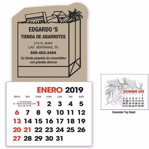 Press Stick 13 Month Spanish Calendar Promo Commercial Calendars