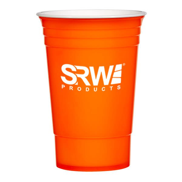 1d7f34b884f Neon Orange 16 oz Plastic Stadium Cups in Bulk | Promotional Plastic Cups  Wholesale | Sports