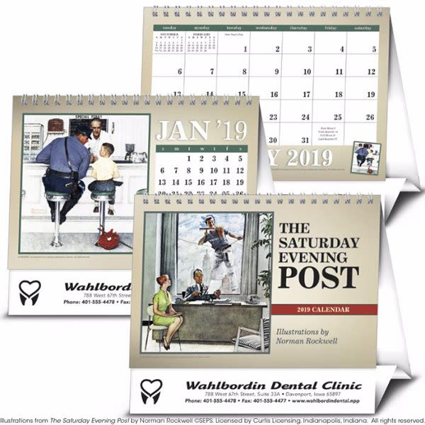 Imprinted Saturday Evening Post Desk Calendar Corporate Calendars