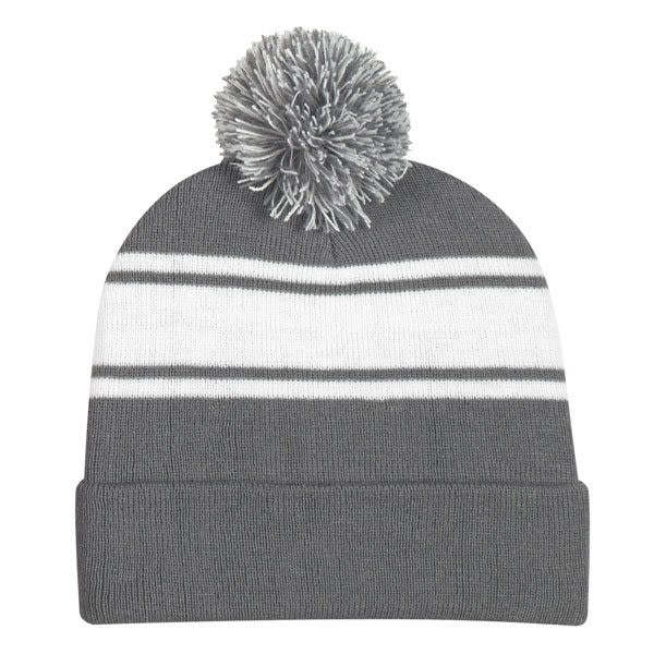 af9cb4b4ead Promotional Pom-Pom Top Embroidered Winter Hat gray