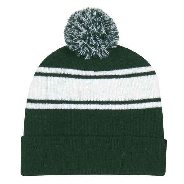 Promotional Pom-Pom Top Embroidered Winter Hat forest green 3f179fee4d8