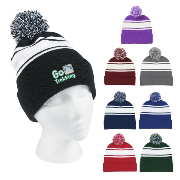 7ec27dd0644 Pom Top wide stripe embroidered winter hat with logo - custom winter hats  black