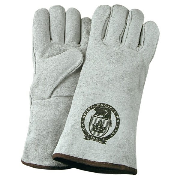 Gray Suede Cowhide Leather Welding Fire Gloves Logo Promo Fire Glove