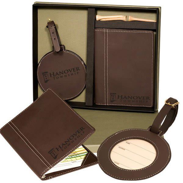 914b69960b2a Engraved Woodbury Golf Card Holder And Set 4allpromos. Handmade Leather Golf  Scorecards