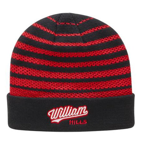 Promotional Mesh Winter Hat with Cuff - Embroidered - Black Red 179cc3ae3fd