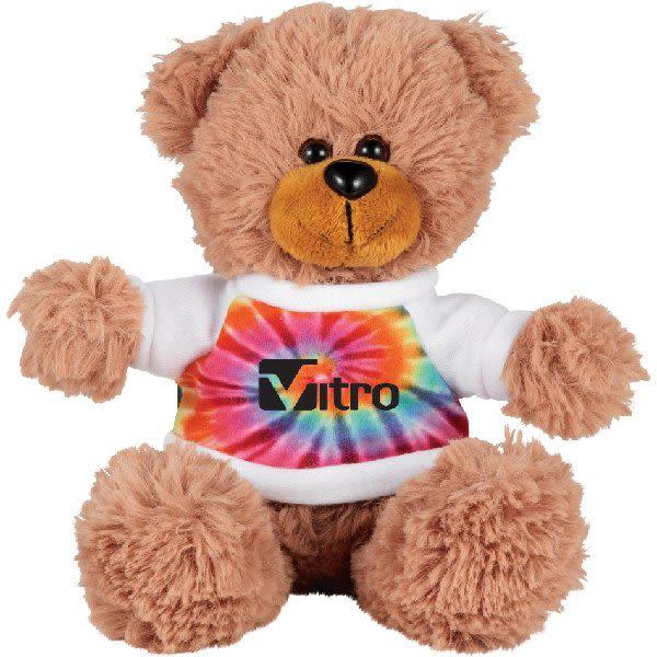 aa4b5b8a1159 Sitting Promotional Stuffed Teddy Bear with Shirt - 6†Custom Plush Bears  - Tie Dye