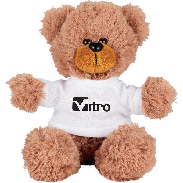 2fad4ffb0a0f Sitting Promotional Stuffed Teddy Bear with Shirt - 6†Custom Plush Bears  - White