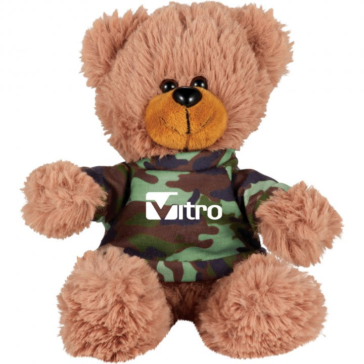 4b06596b1143 Sitting Promotional Stuffed Teddy Bear with Shirt - 6†Custom Plush Bears  - Camouflage