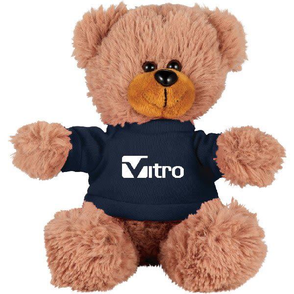 4bd388029c7b Sitting Promotional Stuffed Teddy Bear with Shirt - 6†Custom Plush Bears  - Navy