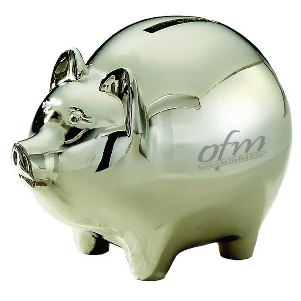 Logo Engraved Nickel Plate Classic Piggy Bank Custom Piggy Bank