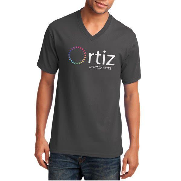 8273bbfe7ad Charcoal Color V-Neck Port   Company Cotton T Shirt