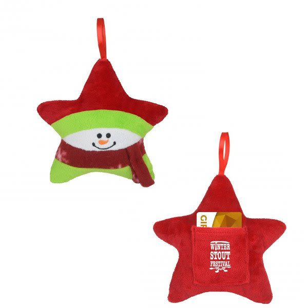 Bulk Christmas Ornaments.Plush Star Christmas Ornament