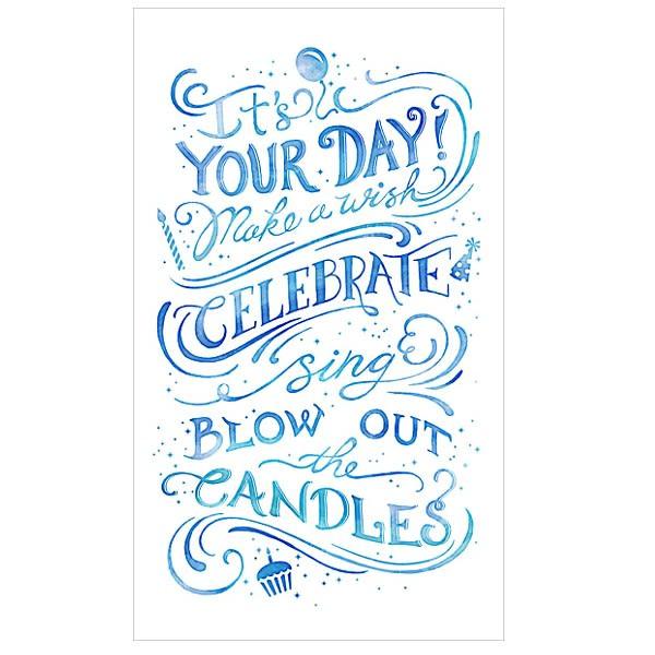 Blue Custom Message Birthday Card