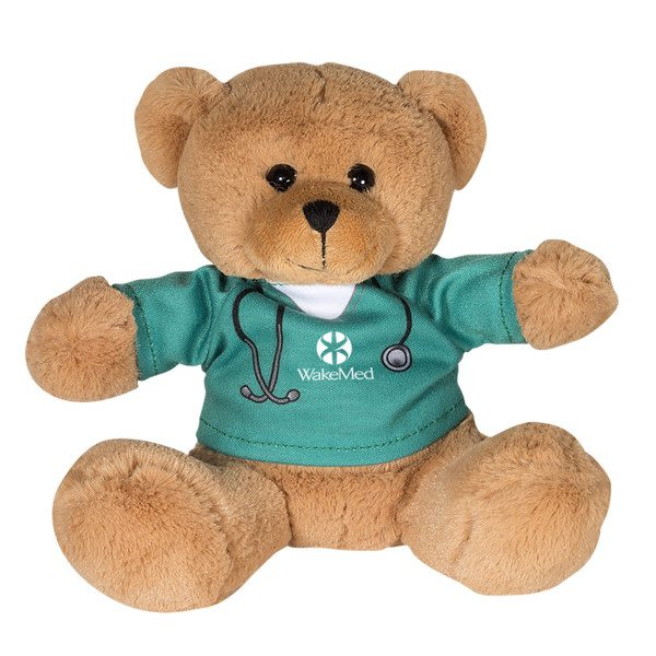 69885675730a Plush Custom Bear with Nurse or Doctor Teal T-Shirt - Healthcare Giveaways