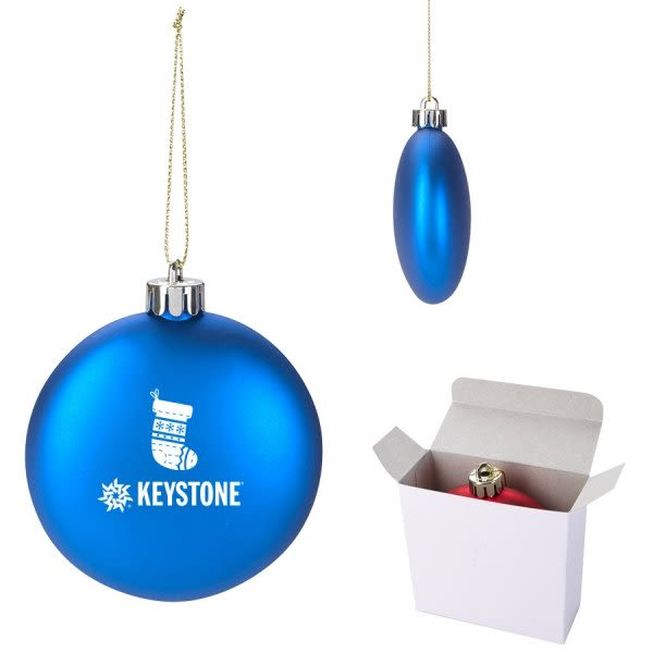Custom Logo Imprinted Shatterproof Flat Round Ornaments in Bulk - Blue - Shatterproof Custom Ornament In Gift Box Personalized Ornaments