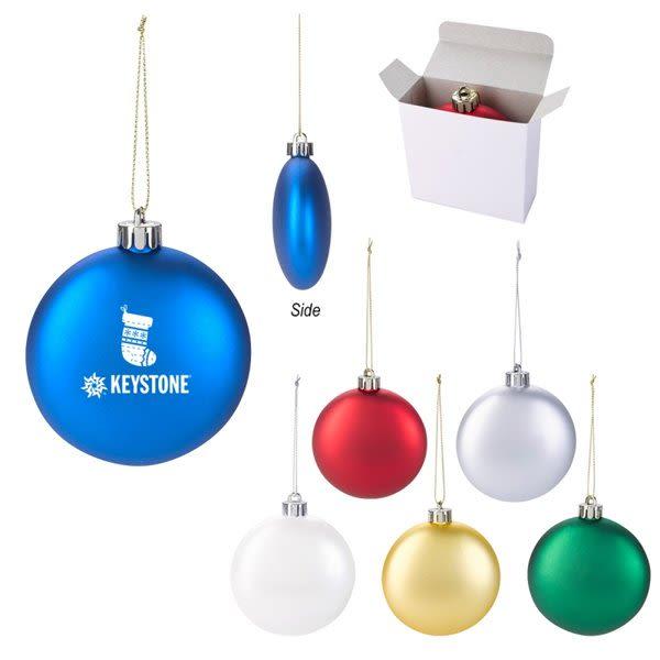 Custom Logo Imprinted Shatterproof Flat Round Ornaments in Bulk