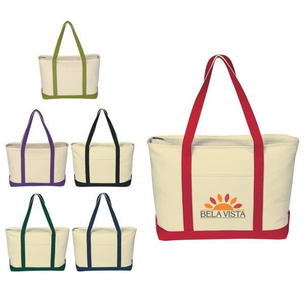 6241d3b8d Heavyweight Canvas Tote | Zippered 24 Inch Custom Promo Tote Bags
