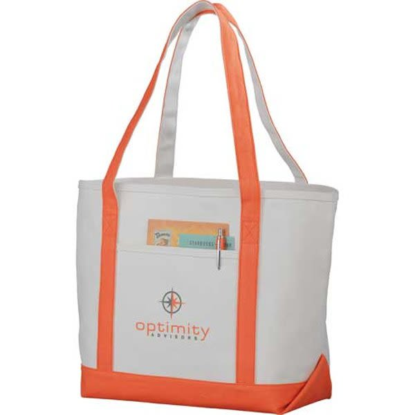 Premium custom printed canvas tote bag with contrast handles - 12 oz canvas  - Orange 0e74bdd5b