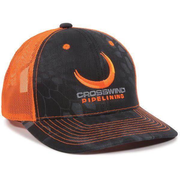912830b2cbf46 Custom Outdoor Cap Neon Camo Mesh Cap Kryptek Typhon Neon Orange