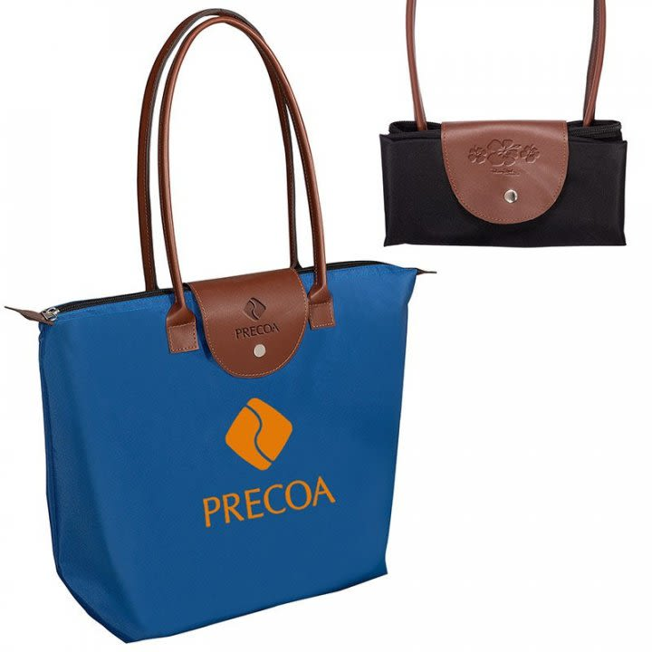 3d368ab7cdb4 Custom Logo Tote with Leather Flap
