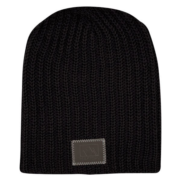 bb43d476a5a Black Custom Slouch Knit Beanie with Debossed Logo