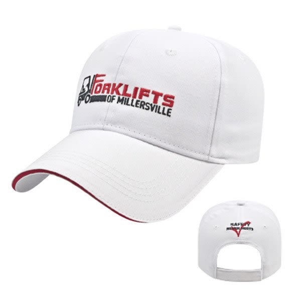Custom Embroidered Structured Sandwich Cap - White red bd44d0c28d02