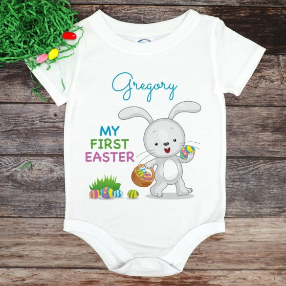 Personalized Baby Bodysuit Gift Easter Baby Onesie First Easter Outfit Mama/'s Bunny