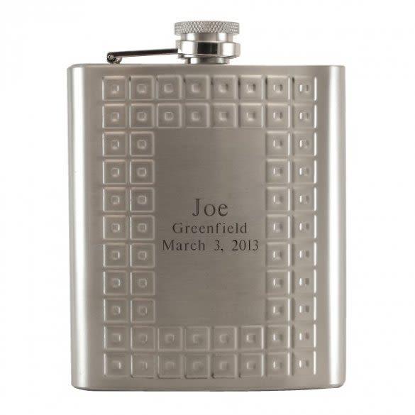 Engraved Tartan Design Flask