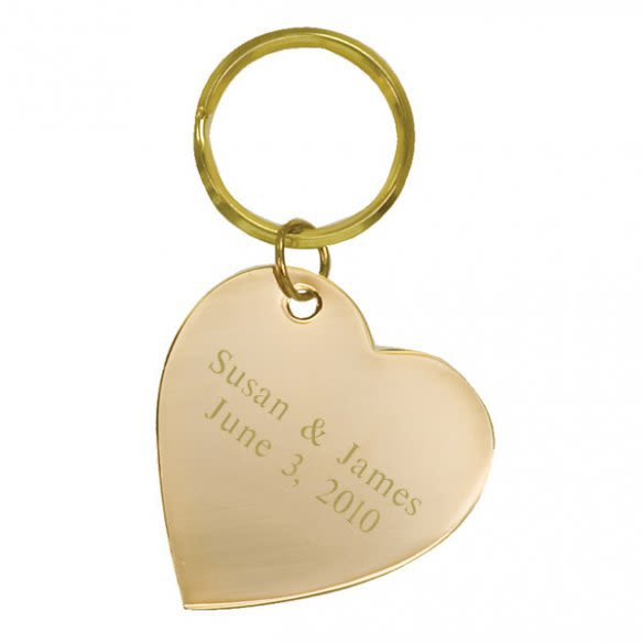 personalized brass heart key ring forallgifts
