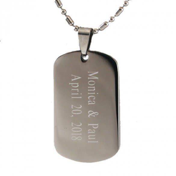 80953a13510 Stainless Steel Round Edge Engraved Soldier Dog Tag | ForAllGifts