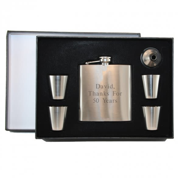 Engraved Flask Set with Shot Glasses