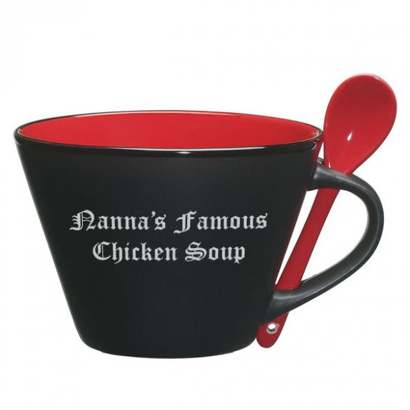 Personalized Soup Mug With Spoon Forallgifts